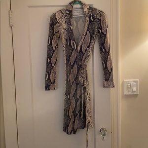 Diane Von Furstenberg Snakeskin Print Wrap Dress